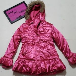 ONE STEP UP pink satin pumpkin puffer hood jacket